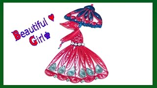 quilling art | A Beautiful girl walking in the snowfall | Making quilling girls