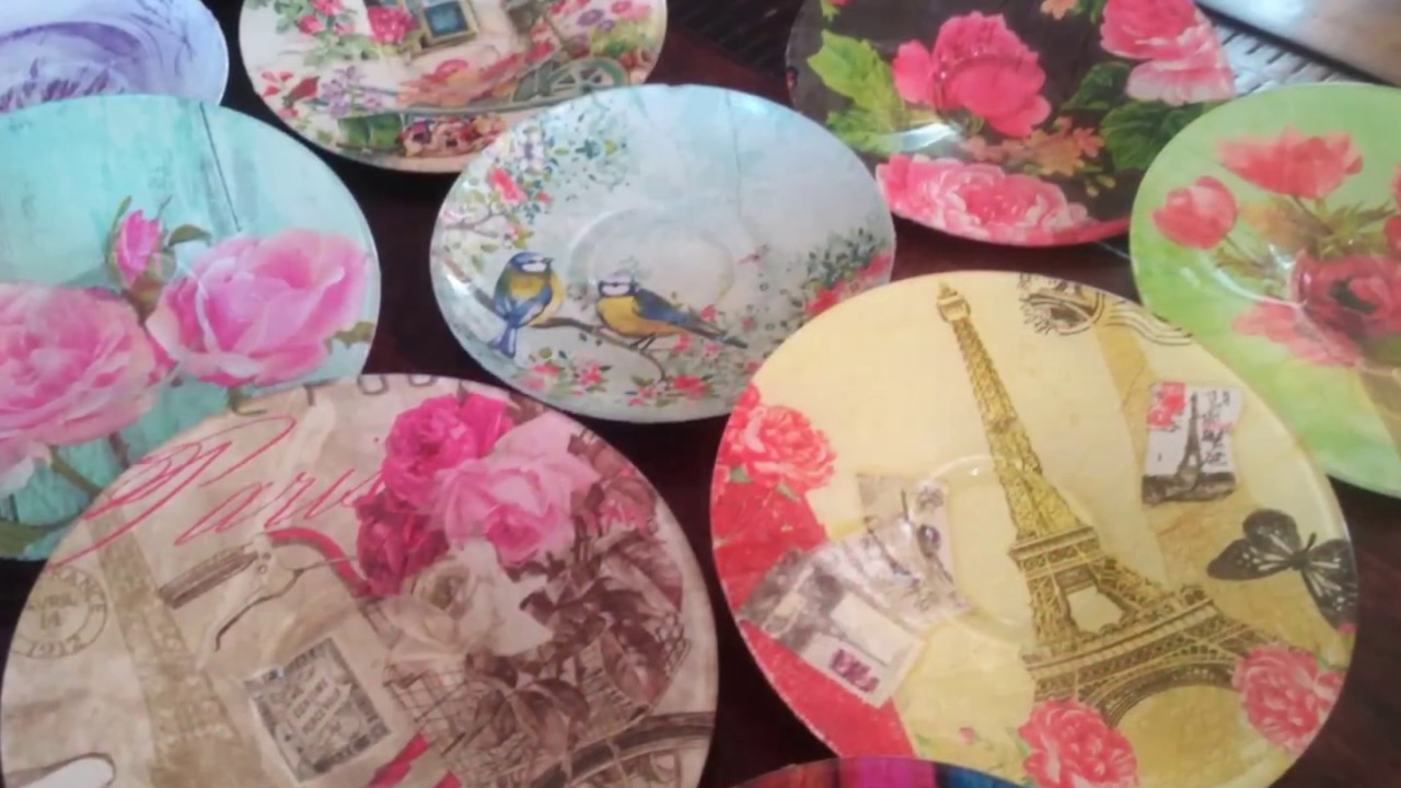 DIYUpcycle/Decoupage/Modpodge Glass Plates/Saucers with Paper  Napkin/Tissue Paper