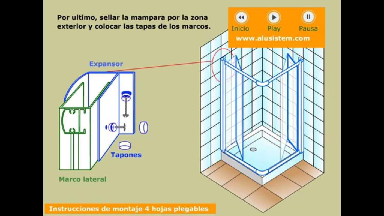 Puertas plegables de ducha angular de 4 hojas - YouTube
