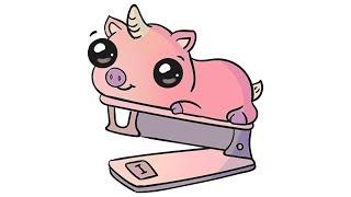 How to draw cute stapler unicorn