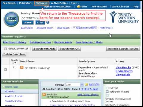 Business Source Complete (EBSCOhost 2.0) Thesaurus Tutorial