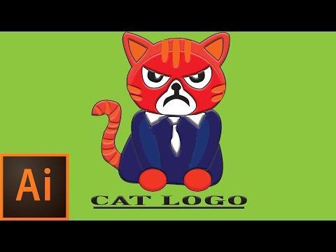 Cat cartoon logo design in illustrator by MEHRA'S productions