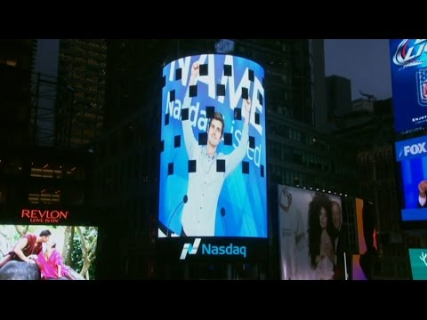 Rightside on the Nasdaq video tower in Times Square