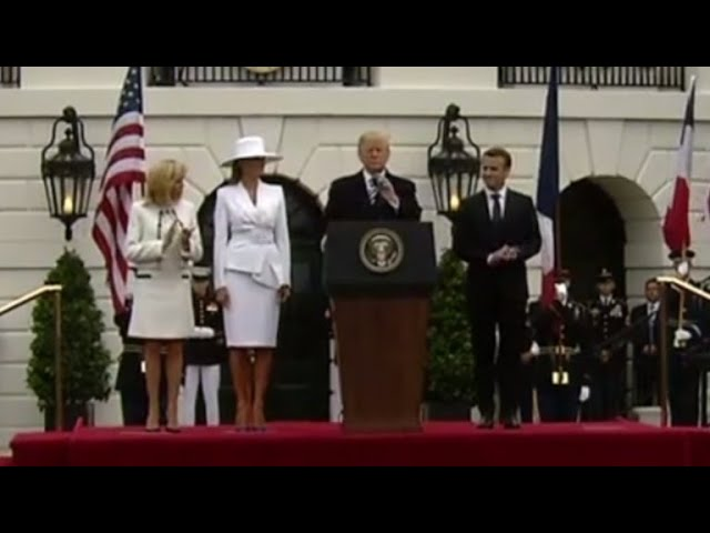 Trump, Macron deliver remarks at arrival ceremony