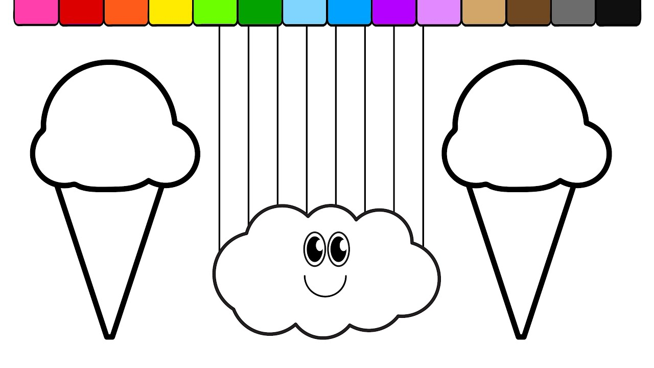 learn colors for kids and color ice cream smiley face rainbow cloud coloring page - Coloring Page Rainbow Clouds