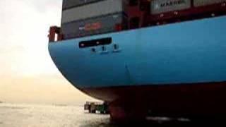 Testing life boat on Albert Maersk