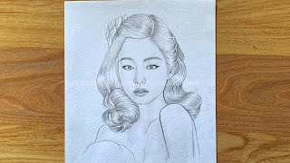 How to draw jennie blackpink  pencil drawing for beginner  drawing tutorial  រៀនគូរ