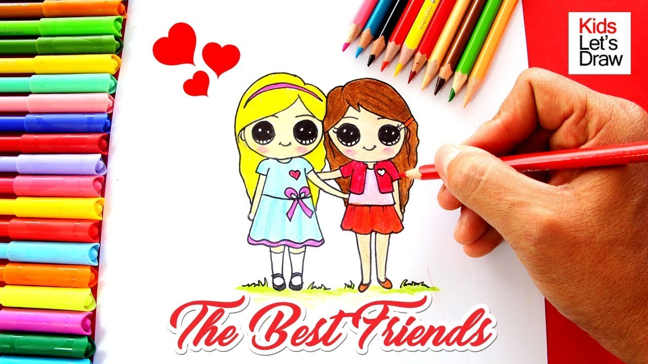 Como Dibujar Dos Mejores Amigas How To Draw Two Cute Best Friends