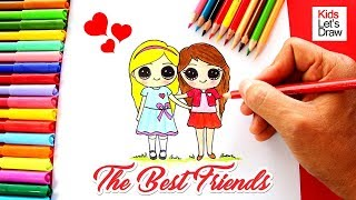 Cómo dibujar Dos Mejores Amigas | How to Draw Two Cute Best Friends Forever