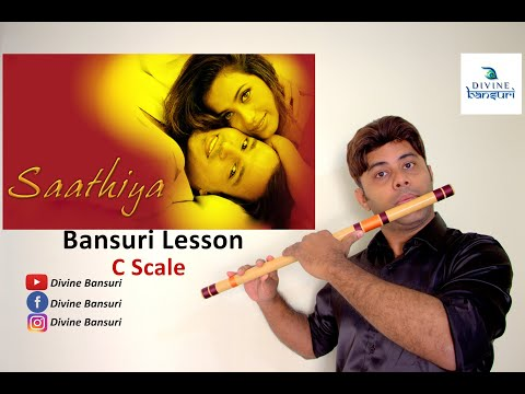 Saathiya Theme Tune - Cover & Flute Lesson - C Scale - A R Rehman - Tutorial - Divine Bansuri