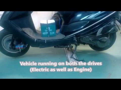 Hybrid bike running on petrol and electric (battery)