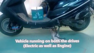 Hybrid bike running on petrol and electric (battery) by Mechatronic Trading