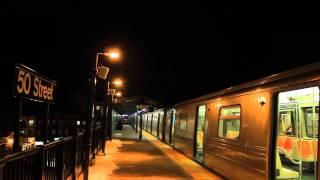 IND Subway: Northbound R68 (D) Train at 50th St [Night]