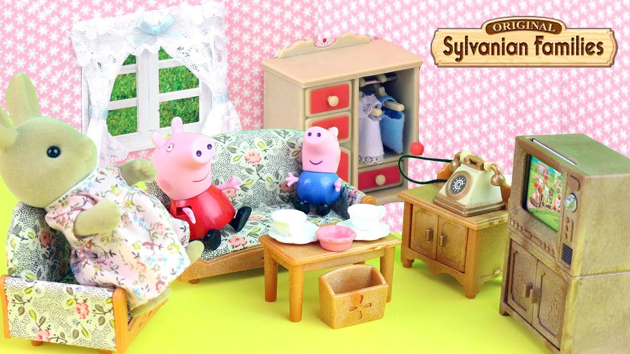 sylvanian families living room set with peppa pig and george fun toys kids em portugus youtube - Sylvanian Families Living Room Set
