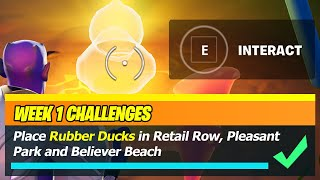 Place rubber ducks in Retail Row, Pleasant Park, and Believer Beach Locations - Fortnite