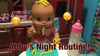 BABY ALIVE New baby Abby night routine! Play doh food