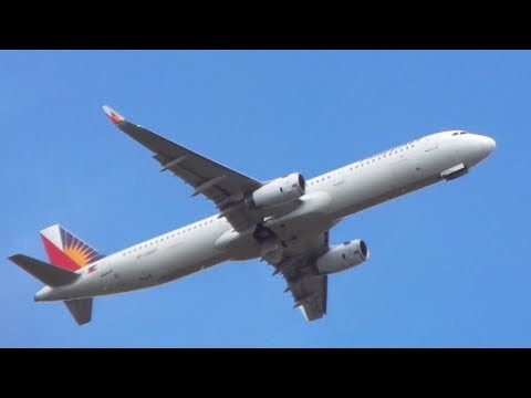 Philippine Airlines Airbus A321 Takeoff from Davao Airport
