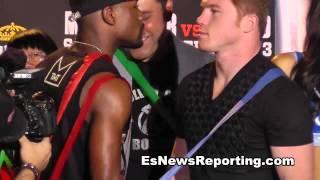 mayweather vs canelo 3 min faceoff - EsNews Boxing