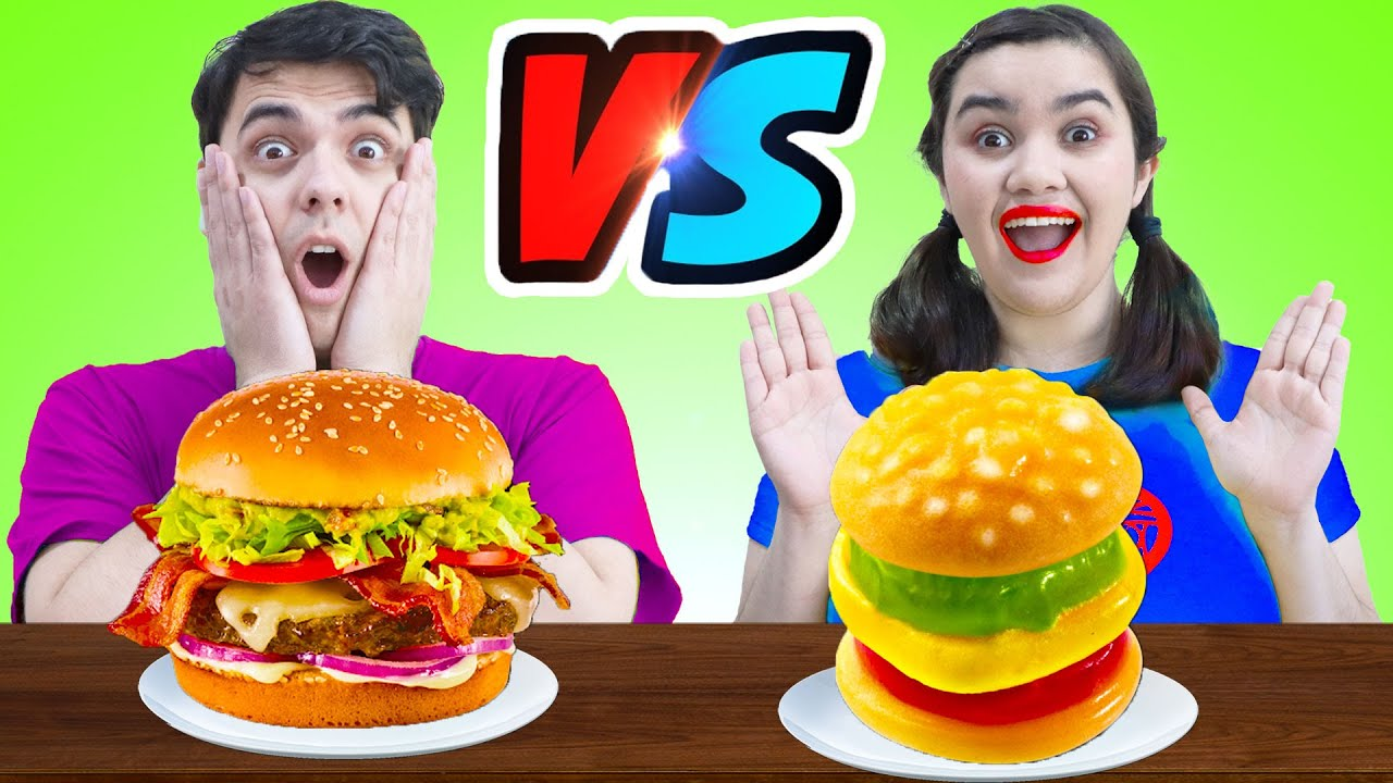 REAL VS GUMMY FOOD CHALLENGE FOR 24 HOURS | FUNNY MUKBANG & CRAZY SITUATION BY CRAFTY HACKS