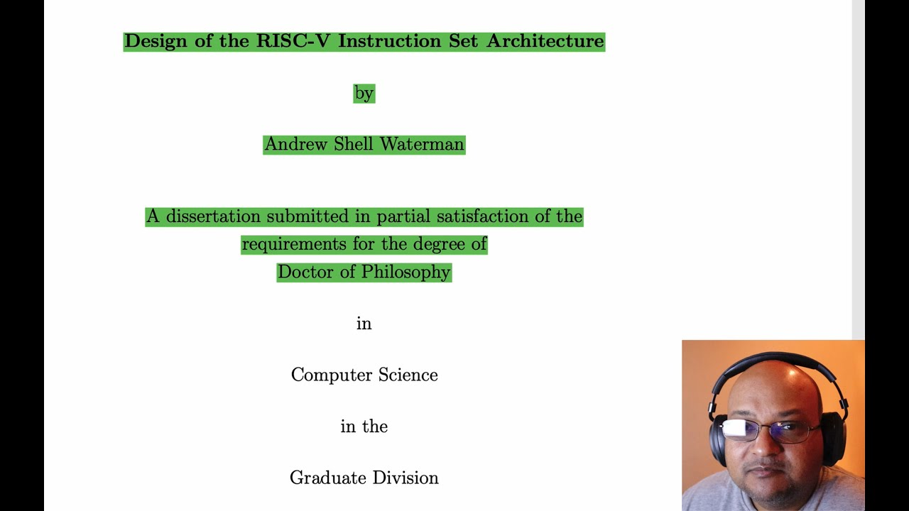 Read A Paper Design Of The Risc V Instruction Set Architecture Youtube