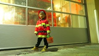 Halloween Fireman costume visits a real fireman!