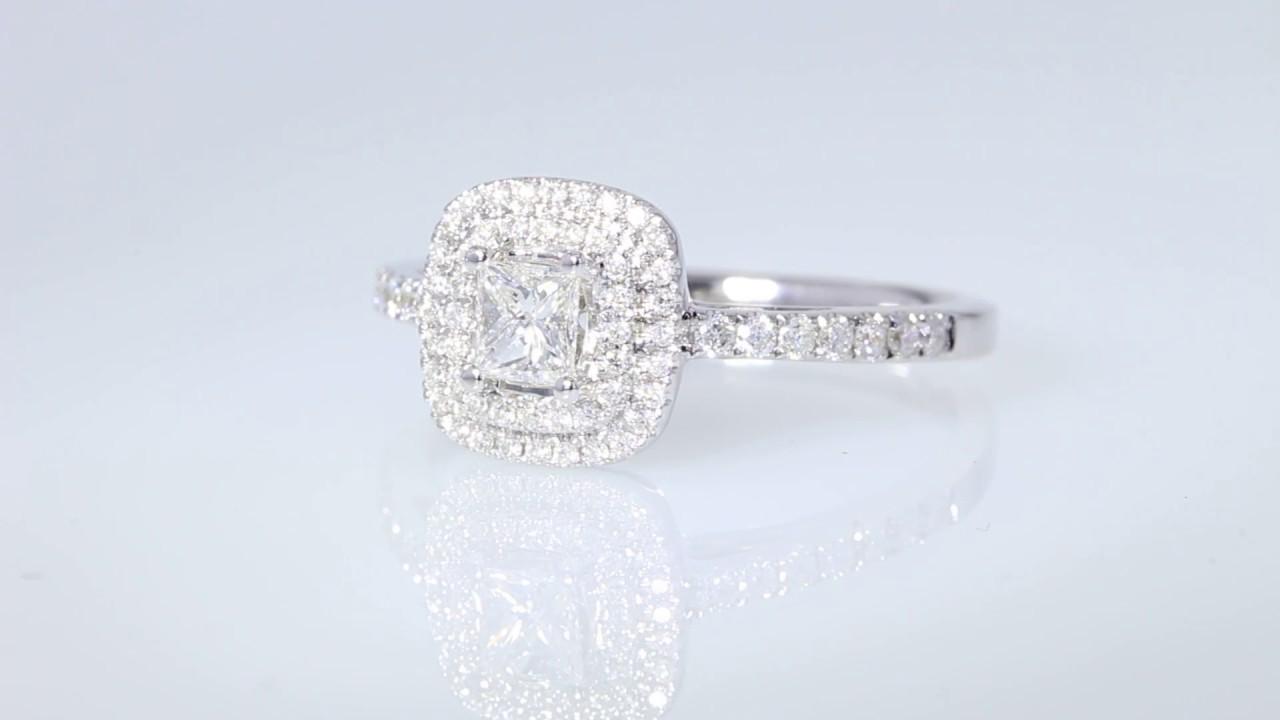 5 8CT Princess diamond halo engagement ring retail $2k $1000