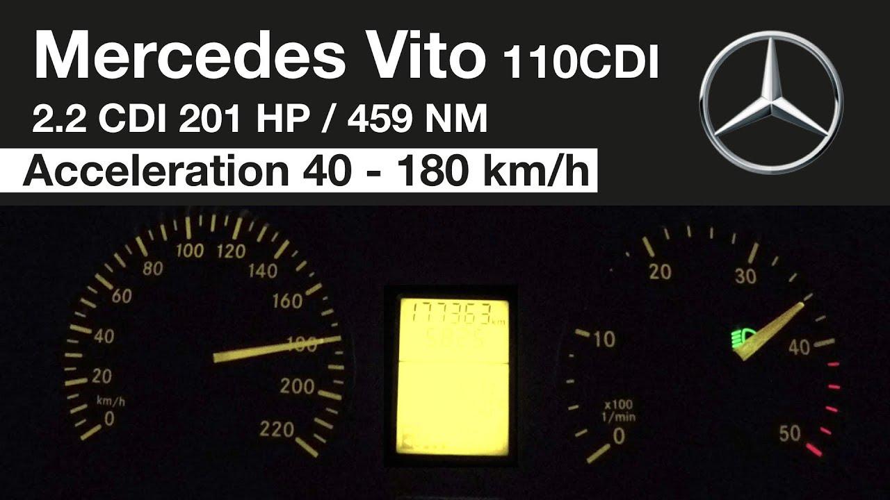 Mercedes Benz Vito 110 CDI 200 HP Acceleration 40 - 180 km/h