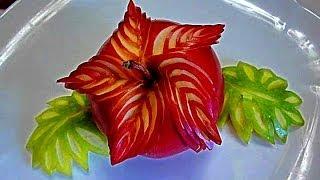Цветок из яблока! Star of apple! Карвинг из яблока. Украшения из фруктов.(ПОДПИСЫВАЙТЕСЬ В МОЮ ГРУППУ http://www.odnoklassniki.ru/group/51786859479179 Моя группа в контакте http://vk.com/club63978601 КАК Я ..., 2014-04-01T18:25:39.000Z)