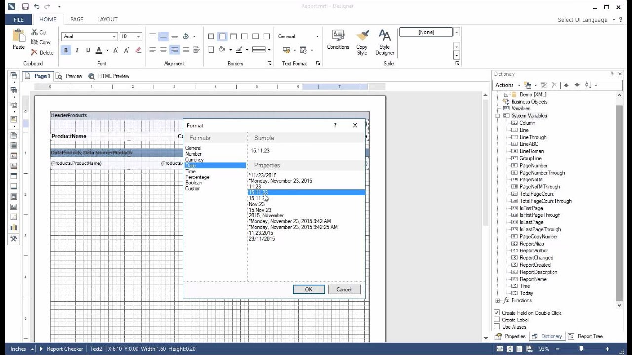 Reporting Tool: Using Date Text Format - Stimulsoft Reports - [Shot on  version 2015 3]