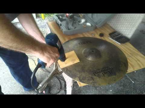 Drilling Rivets into a Sabian HH Raw Ride to make a sizzle cymbal. HOW TO DIY. (Do it yourself.)