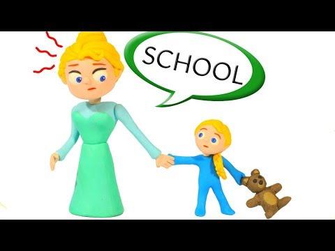 BABY ELSA GOES TO SCHOOL ❤ SUPERHERO BABIES PLAY DOH CARTOONS FOR KIDS
