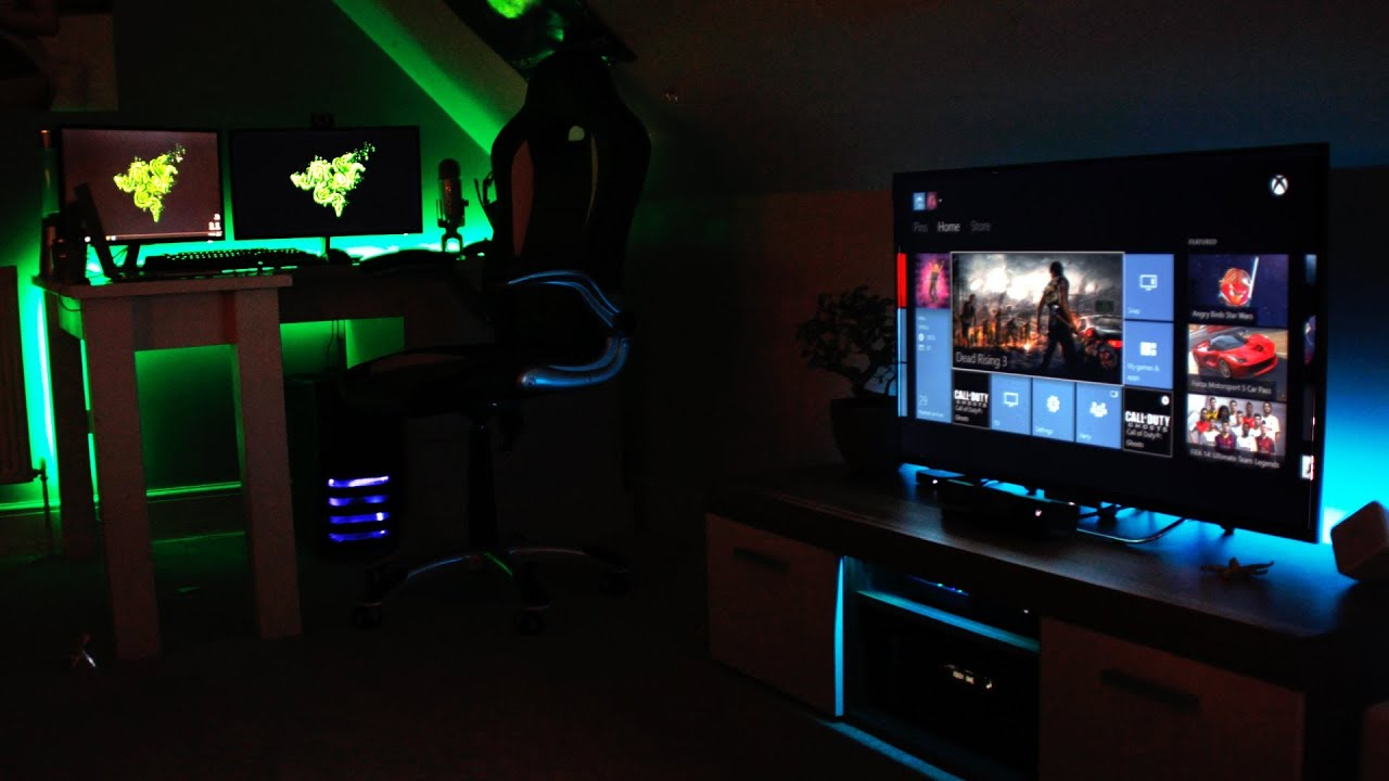 The ultimate gaming and entertainment room 2014 youtube for Best living room setup