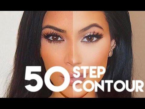 KIM KARDASHIAN 50 STEP CONTOURING ROUTINE! - YouTube
