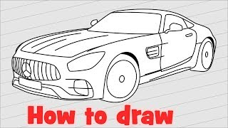 How to draw a car Mercedes AMG GT 2018