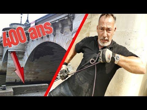 PARIS : 400 ANS DE POLLUTION POUR CE VIEUX PONT CHRISDETEK PECHE A L'AIMANT BULLDOG DANS LA SEINE