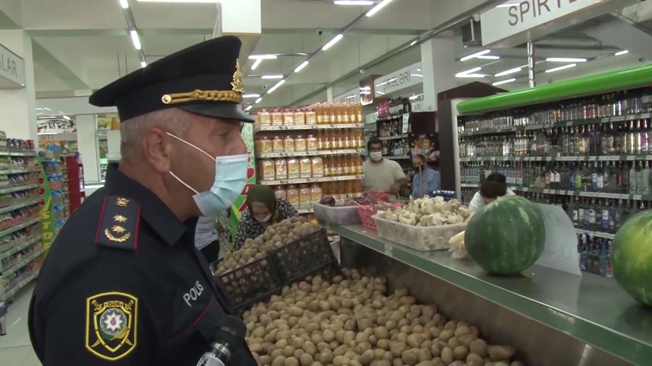 Polislər iri supermarketlər və apteklərdə maska, əlcəkdən istifadə etməyənlərə qarşı reydlər keçirib