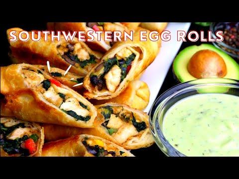 Southwestern Egg Rolls - Chili's CopyCat - Plus Avocado Dip - Kelvin's Kitchen