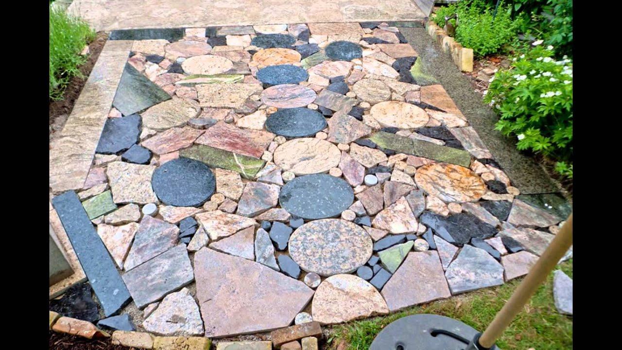 diy stone patio - YouTube