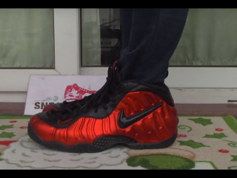 1b1918f5a24 Nike air Foamposite Pro University Red ON FOOT - YouTube