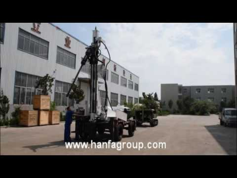 HF510T trailer mounted water well drilling rig operation demo