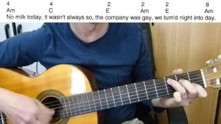 Guitar Accompaniment  - No Milk Today - Herman's Hermits - Easy Guitar (Including lyrics and chords)
