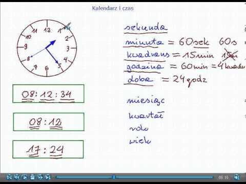 Kalendarz I Czas Matematyka Szkoła Podstawowa I Gimnazjum