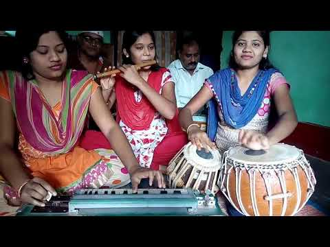 These Girls are Performing  Instrumental On Tabla Flute And Banjo