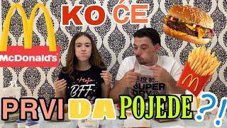 McDonald's CHALLENGE! Nadja VS Cool tata! KO CE BRZE DA POJEDE HRANU IZ MEKA?!