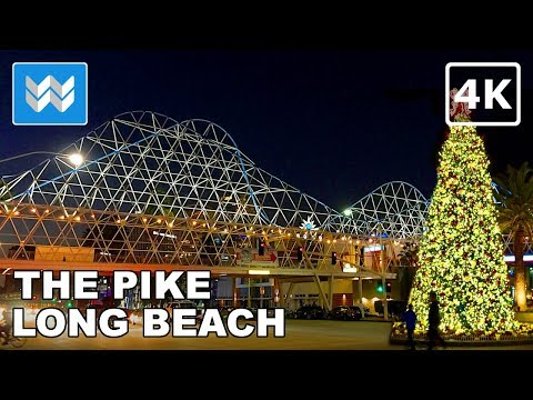 🎄 Christmas Night Market at The Pike Outlets  | Downtown Long Beach Walking Tour 【4K】