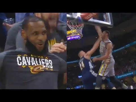 LeBron James CAN'T BELIEVE LARRY NANCE JR DUNK ON MASON PLUMLEE!