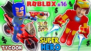 ROBLOX SUPER RICH HEROES $$$$ Iron Man Duddy vs Batman Chase SUPERHELDEN-TYCOON (FGTEEV #16 Gameplay)