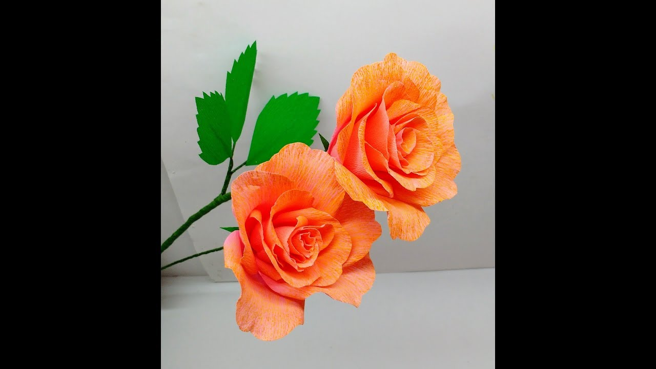 How to make Beautiful Crepe Paper Rose with Dual tone Colour ...