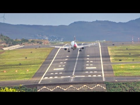 6 WINDY LANDINGS WITH STRAIGHT VIEW At Madeira Airport 06.03.2020