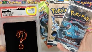 1st EDITION VINTAGE PACKS AND PSA GEM MINT GRADED POKEMON CARDS!